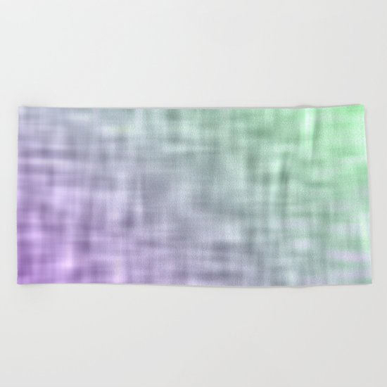 Green and purple mist abstract design Beach Towel