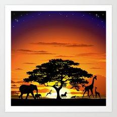 Wild Animals on African Savanna Sunset  Art Print