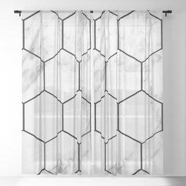 Marble hexagonal tiles - geometric beehive Sheer Curtain