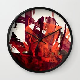 Embers (2): A bold abstract piece in reds, gray, and white Wall Clock