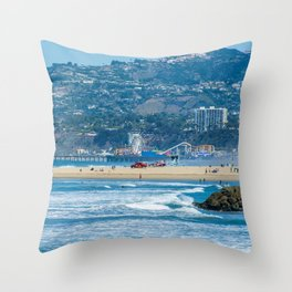 Rare view of Santa Monica, Pier & Pacific Palisades from Venice Pier Throw Pillow