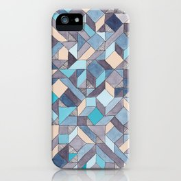 Shifitng Geometric Pattern in Blue iPhone Case