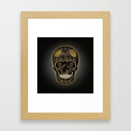 Skull Yellow | Tessellating Skulls Pattern | M. C. Escher Inspired Geometric Artwork by Tessellation Framed Art Print