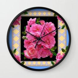 BABY BLUE-CREAM PINK ROSE CLUSTER ART Wall Clock