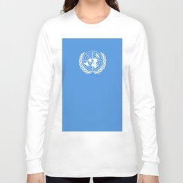 Flag on United nations -Un,World,peace,Unesco,Unicef,human rights,sky,blue,pacific,people,state,onu Long Sleeve T-shirt