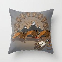 Native American Indian Buffalo Nation Throw Pillow