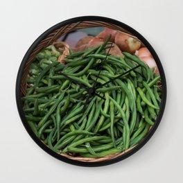 Basket of Fresh Green Beans Wall Clock