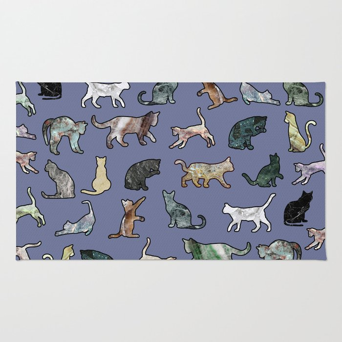 Cats shaped Marble - Violet Blue Rug