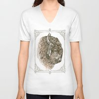 buffalo V-neck T-shirts featuring Buffalo Portrait by Rachel Caldwell