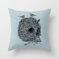 Skull Nest Throw Pillow