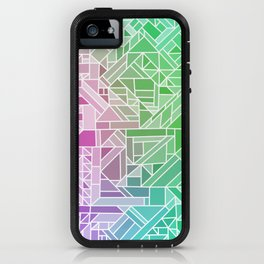 Bright Gradient (Violet Purple Lime Green Neon Yellow) Geometric Pattern Print iPhone Case
