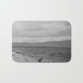 thunderstorm approaching at peroj beach croatia istria black white Bath Mat
