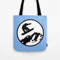 snowboarding Tote Bags featuring snowboarding 1 by Paul Simms