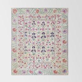 Ura Tube Suzani Uzbekistan Embroidery Print Throw Blanket