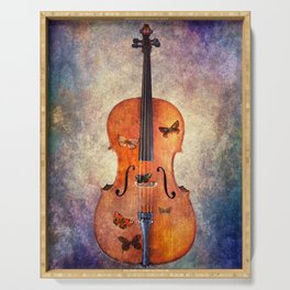 Cello with butterflies and colorful texture Serving Tray