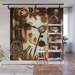 Steampunk, clocks and gears, vintage design Wall Mural