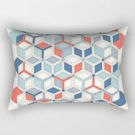 Soft Red, White & Blue Hexagon Pattern Play Rectangular Pillow