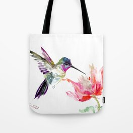 Little Hummingbird and Big Flower Tote Bag