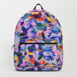 Multicolour Watercolor Spring Abstract, Ocean Blue on Orange, Lavender, Pink Oval Circle Geo Pattern Backpack