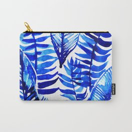 Jungle Leaves & Ferns in Blue Carry-All Pouch