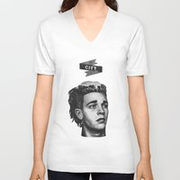 1975 V-neck T-shirts featuring Matty's City by Kylie Ratto