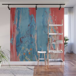 Red and Blue Abstract Flower Field Painting by Jodi Tomer. Wall Mural