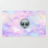 emoji Area & Throw Rugs featuring Alien Kawaii Emoji by jajoão