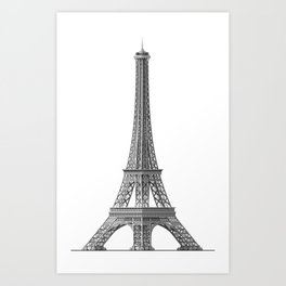 Illustration of the Eiffel Tower on a white background Art Print