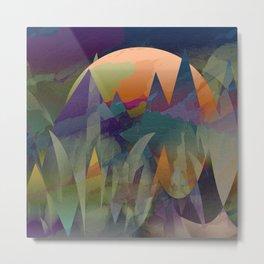 Mountain ridge silhouette pop art - Colourful geometric triangles Metal Print