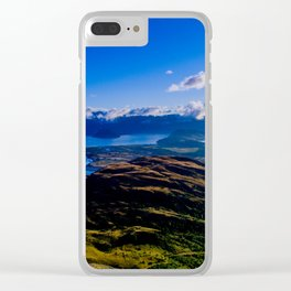 lake wanaka covered in blue colors new zealand beauties Clear iPhone Case