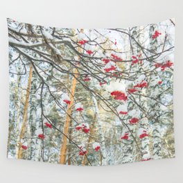 Winter Rowan and birchs Wall Tapestry