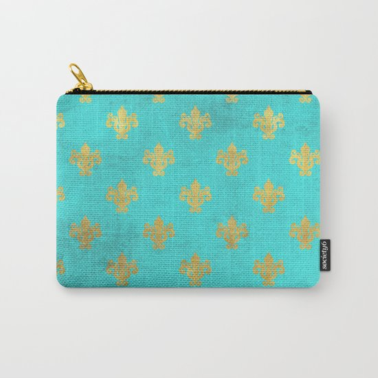 Queenlike on aqua I  Gold Heraldry elements on turquoise background Carry-All Pouch