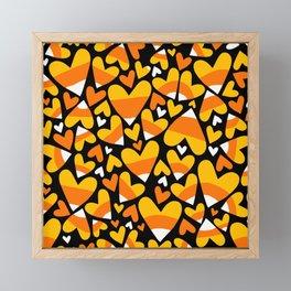 Halloween Candy Corn Hearts Framed Mini Art Print