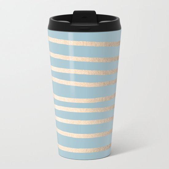 Abstract Drawn Stripes Gold Tropical Ocean Sea Blue Metal Travel Mug