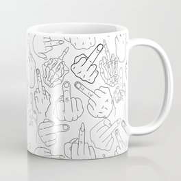 Middle Finger Party Black White Coffee Mug