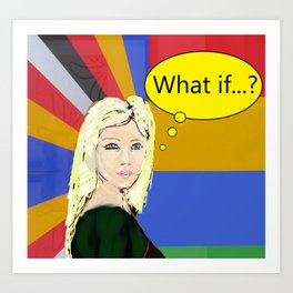 What if...popart female portrait Art Print