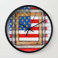 american flag Wall Clocks featuring American Flag by Steve Hester