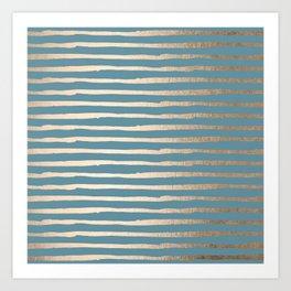 Abstract Stripes Gold Tropical Ocean Blue Art Print