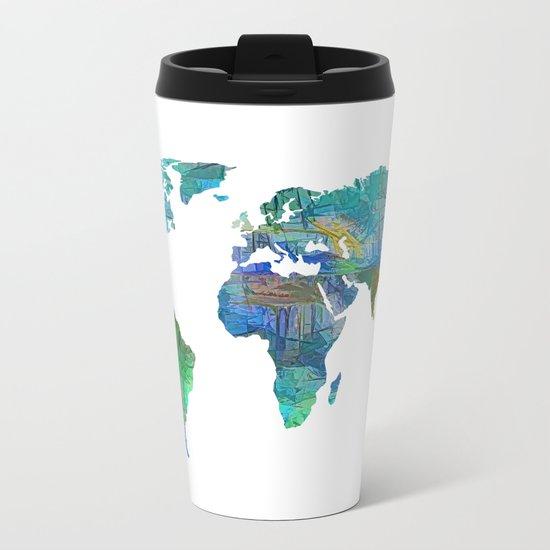 Blue World Transparent Map Metal Travel Mug
