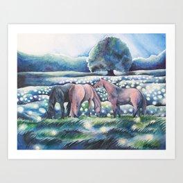 Moonlit Summer Night Horses And Fireflies Art Print