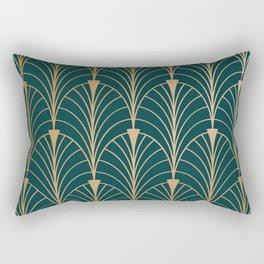 Hidden Sapphire Gold Pattern Rectangular Pillow