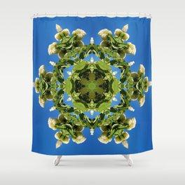 Hydrangea kaleidoscope - white flowers, green leaves, blue sky 161134 k6 Shower Curtain