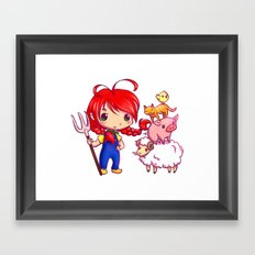 Lotje and the farm animals Framed Art Print