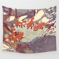 tour de france Wall Tapestries featuring Fisher Fox by Teagan White