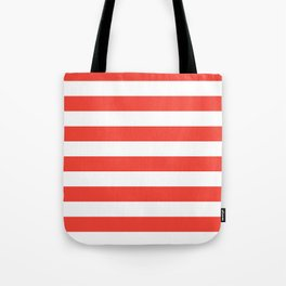 Even Horizontal Stripes, Red and White, L Tote Bag