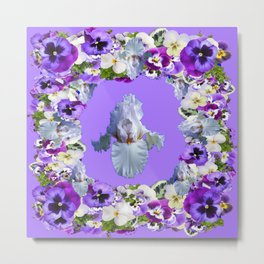 SPRING LILAC PURPLE PANSY FLOWERS & WHITE IRIS PATTERN Metal Print
