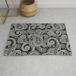 Boho Black & White Paisley Pattern Rug