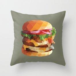 Gourmet Burger Polygon Art Throw Pillow