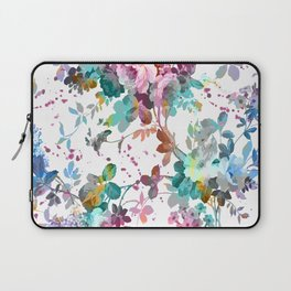 Abstract pink teal watercolor splatters floral pattern Laptop Sleeve
