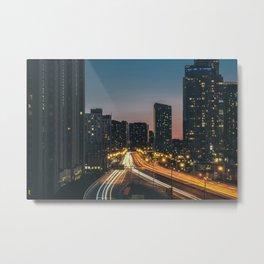 Toronto Road At Night Metal Print